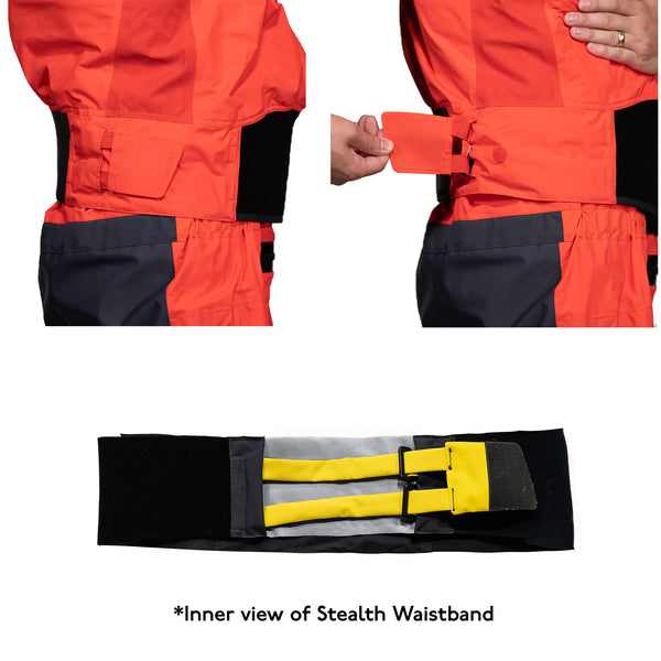 Stealth Waistband System Level Six's Drysuits and Drywear for water sports