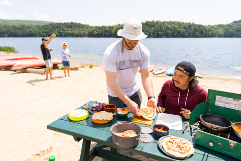 Level Six Men's Apparel Summer Watersports on a beach with camp food