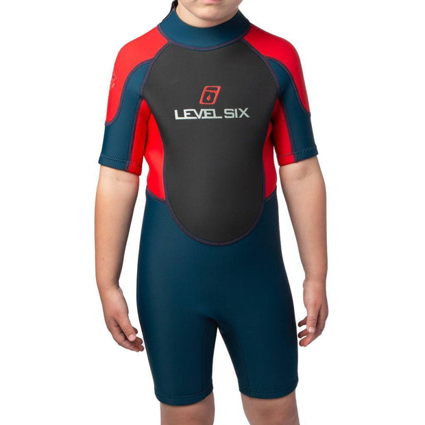 2018 Shorty Wetsuit - Child Neoprene Red / Navy / 2 Outlet