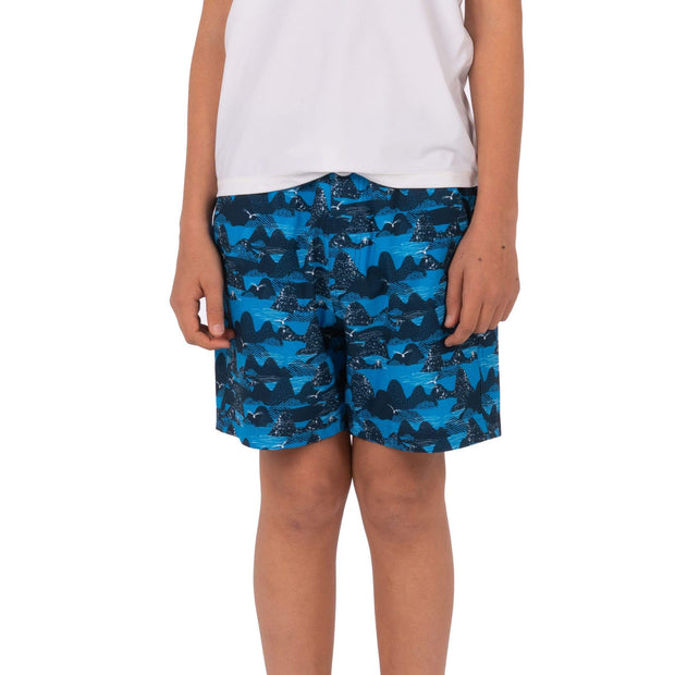 Boy's Snicker Boardshorts Kid's Casual COASTAL CAMO BLUE / 8 Level Six