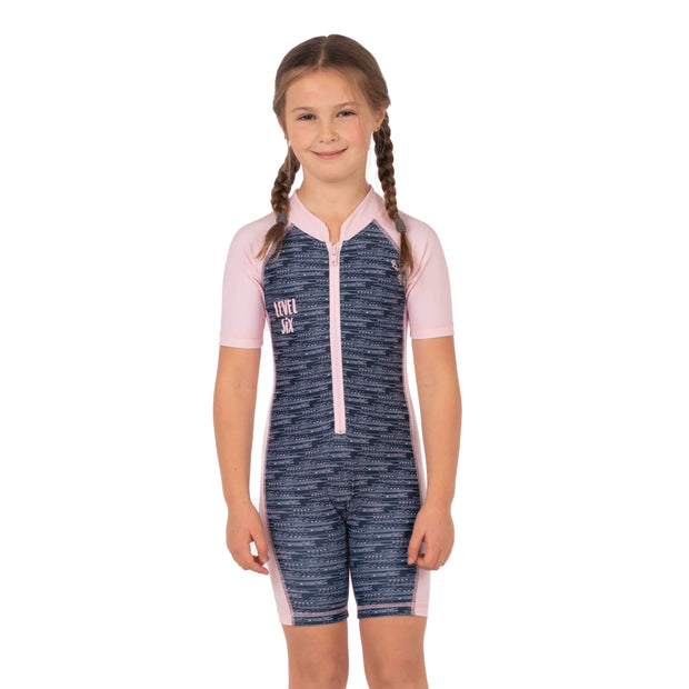 Girl's Aurora Sunsuit Kid's Casual MIXED DASHES - LIGHT PINK / 1T Level Six