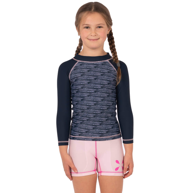 Girl's Stella Long Sleeve Sunguard (Child) Kid's Casual MIXED DASHES NAVY / 1T Level Six