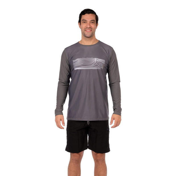 Men's Coastal Long Sleeve Lycra S / Charcoal Waves Level Six