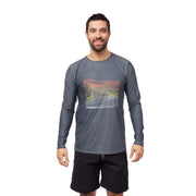 Men's Coastal Long Sleeve Sun Protection Lycra CHARCOAL WAVES / S Outlet