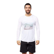 Men's Coastal Long Sleeve Sun Protection Lycra WHITE WAVES / S Outlet