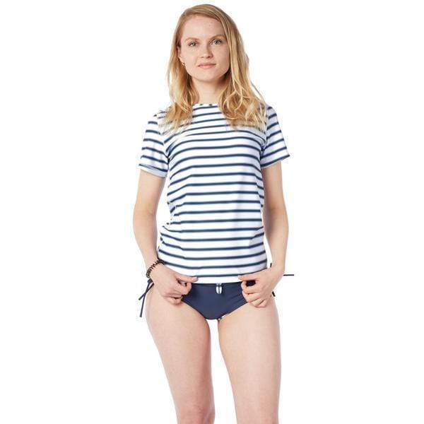 Women's Coastal Short Sleeve Sun Shirt Lycra BLOCK STRIPES NAVY / XS Outlet