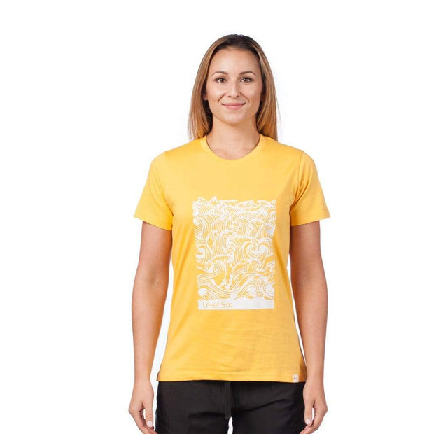 Women's Waves T-Shirt T-Shirts AMBER YELLOW / XS Outlet