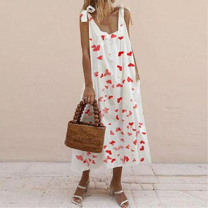 Estike Elegant Sleeveless Hearts Print Ruffle Babydoll Maxi Dress