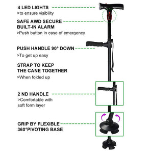 Venerate™ - Self Standing Foldable Walking Cane/Stick With 6 LED Lights!