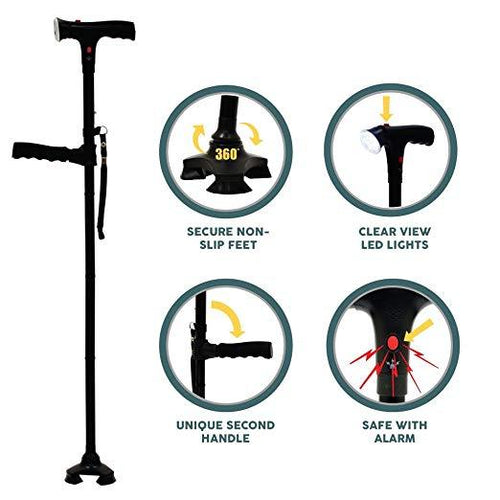 4 Pieces -  Venerate™ Self Standing Foldable Walking Cane/Stick With 6 LED Lights!