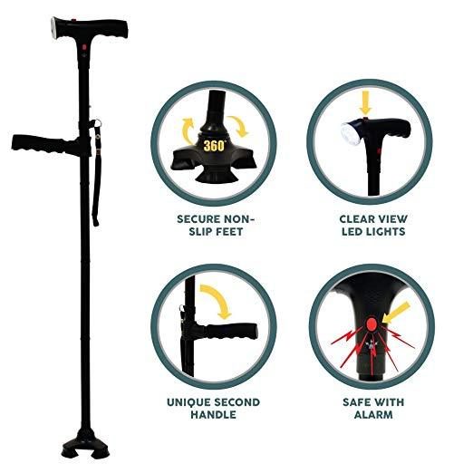2 Pieces -  Venerate™ Self Standing Foldable Walking Cane/Stick With 6 LED Lights!