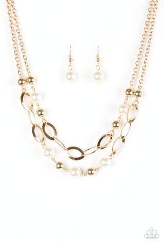 Paparazzi Necklaces Look Into Your Heart Gold Sparkle With Suzanne K