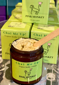 Chai Me Up- Vegan Body Crème with Green Tea and Pomegranate by Pink Monkey, 4oz