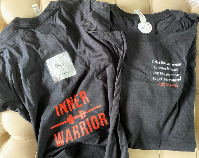 Women's Inner Warrior Black Pure Cotton T-Shirt by Pink Monkey