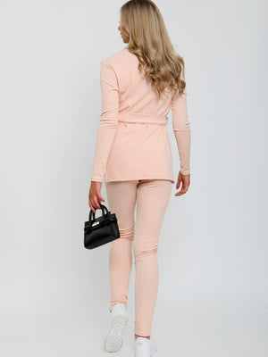 Nude Ribbed Side Split Top and Trousers Lounge Set