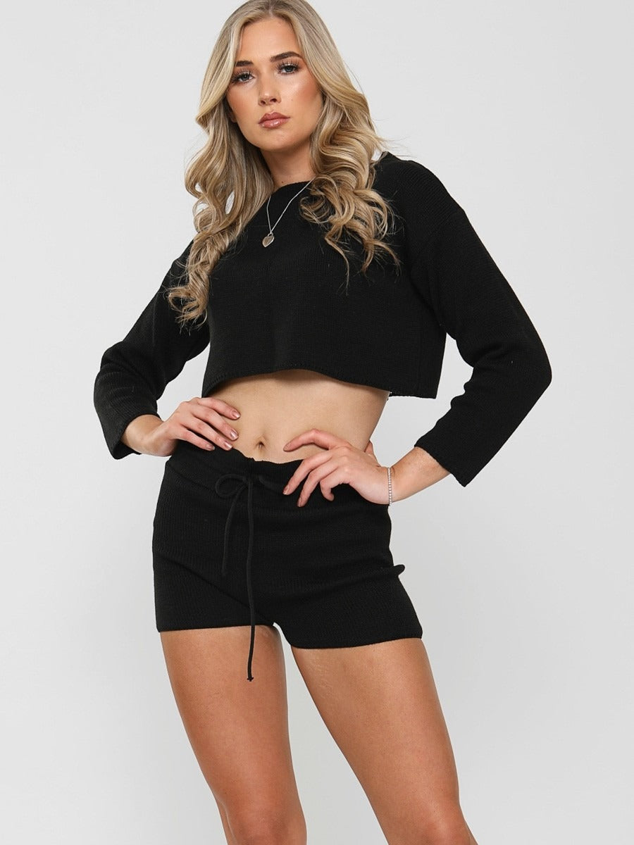 Black Knitted Crop Top and Shorts Lounge Set
