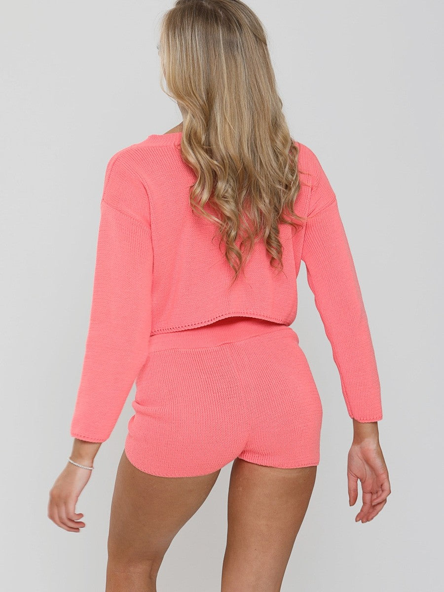 Coral Knitted Crop Top and Shorts Lounge Set
