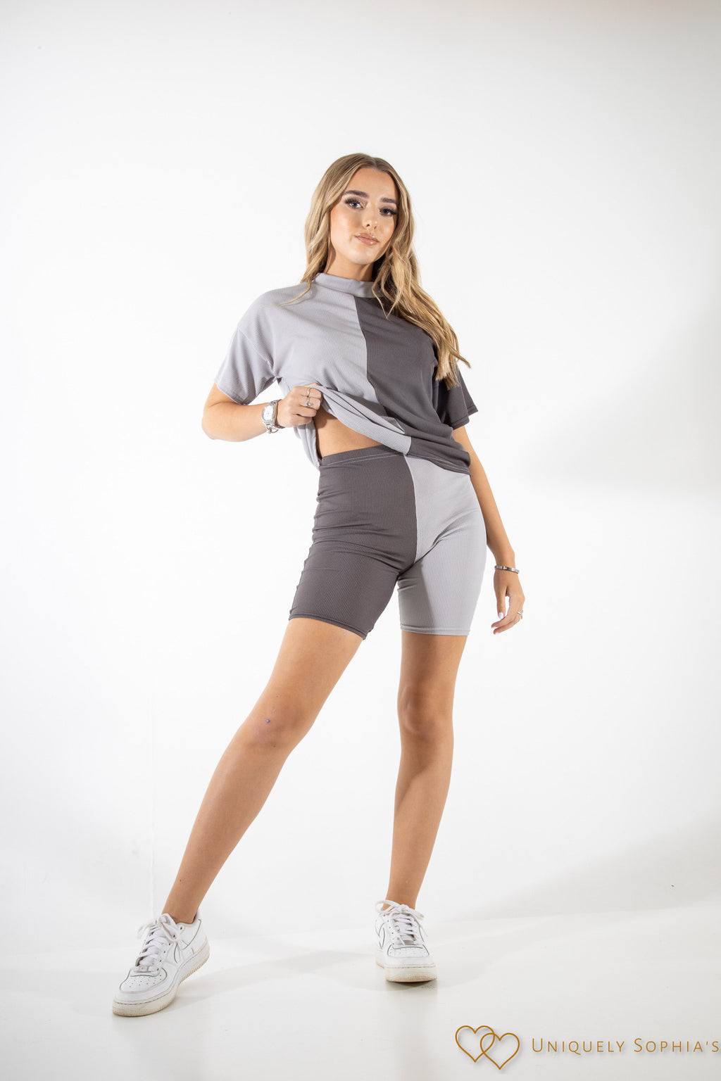 50/50 Ribbed oversized T-Shirt and Shorts Co-Ord