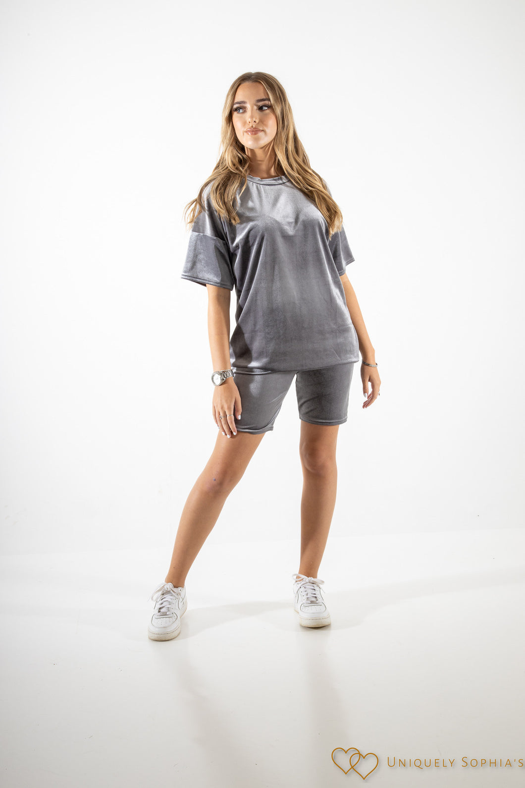 Velour Oversized T-shirt and Shorts Lounge Set