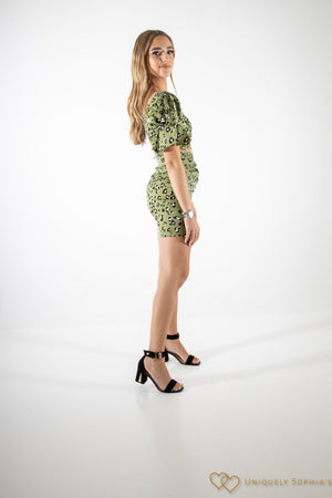 Sage Animal Print Ruched Co-ord