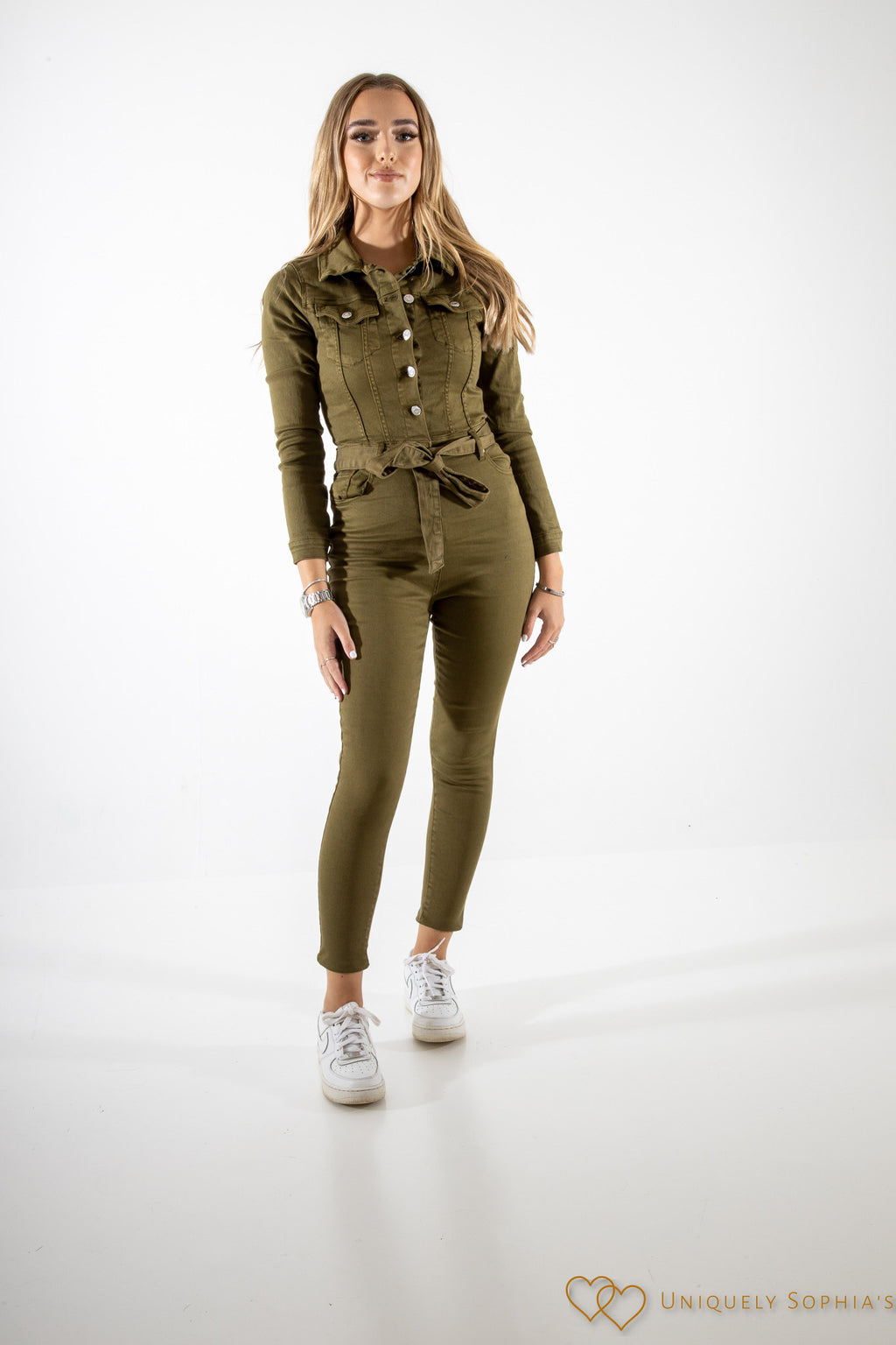 Khaki Denim Jumpsuit