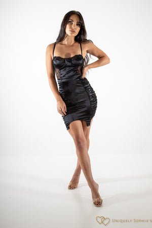 Satin Lace Panel Underwired Garter Dress