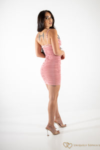 Draped Mesh Underwired Satin Bodycon Dress Bush Pink