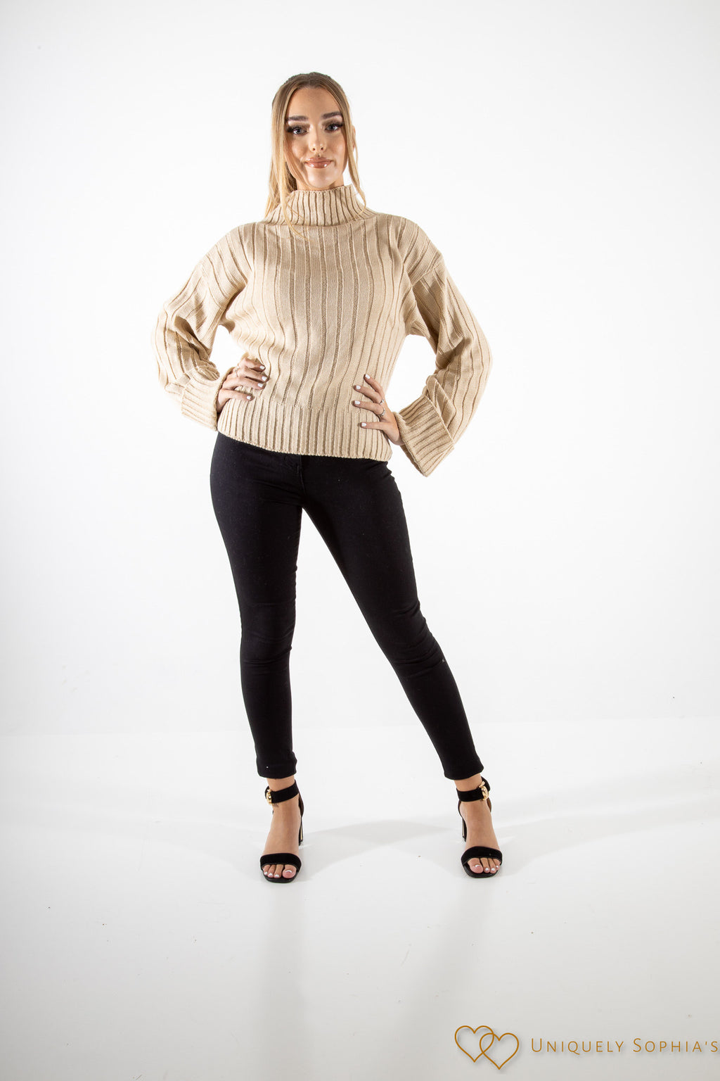 Stone Turtle Neck Oversized Knitted Jumper