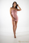 Stretch Suede Ruched Bust Bodycon Dress Rose Pink