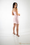 Embellished Pearl / Diamante Bodycon  Suede Dress Pink