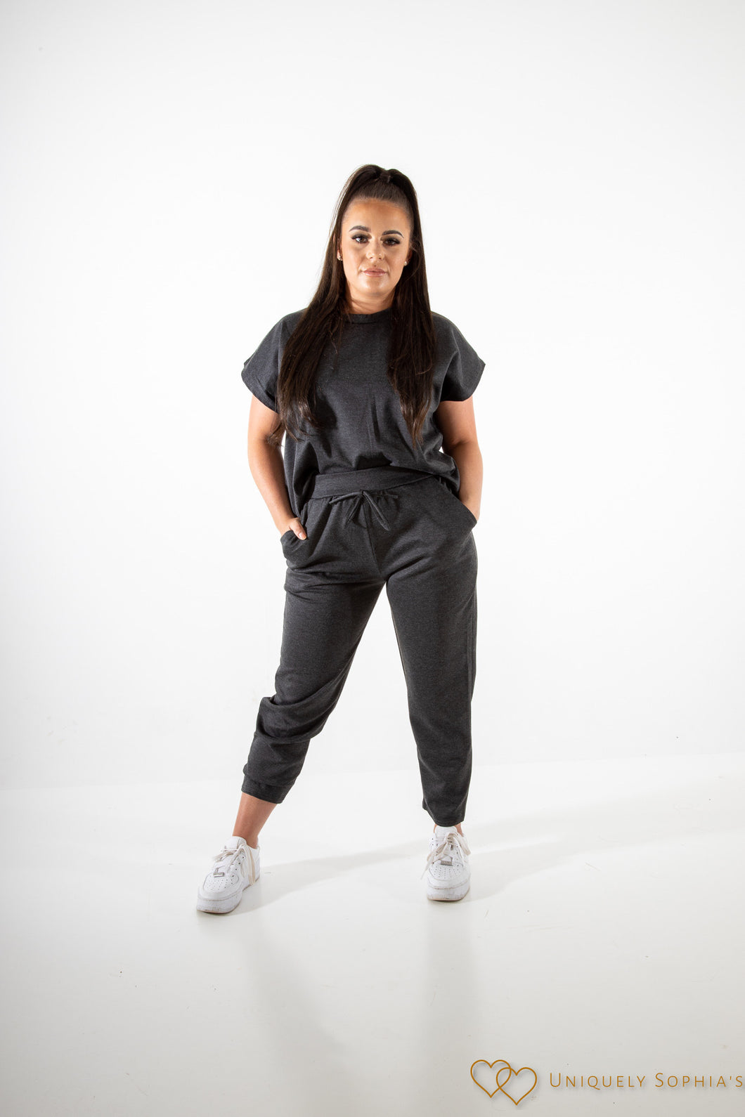 Charcoal short sleeve boxy top and joggers