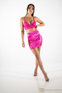 Hot Pink Lace Satin Bralet & mini co-ord