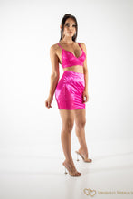 Load image into Gallery viewer, Lace Satin Bralet Skirt Set Hot Pink