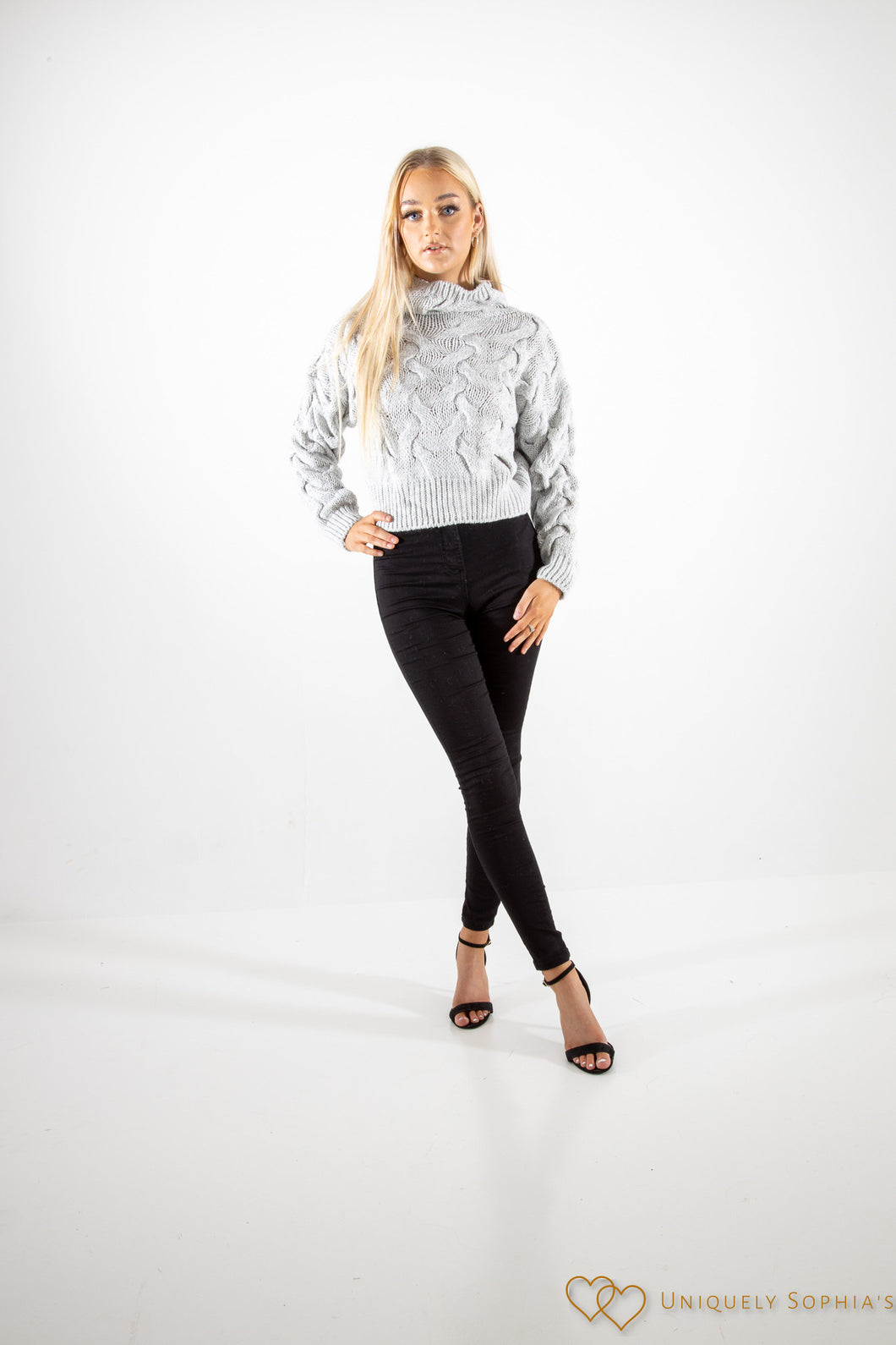 Grey high Neck Cable Knit Jumper