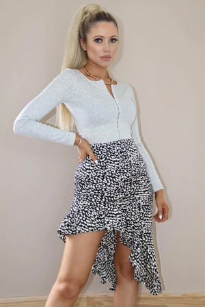 Black And White Leopard Print Frill Midi Skirt