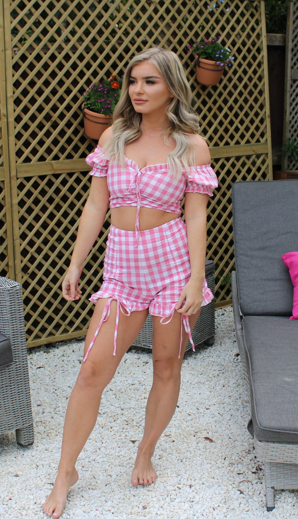 Pink Gingham Check Print Front Tie Ruched Frill Detail Bardot Co Ord Set