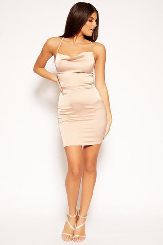 Champagne Cowl neck Satin Dress