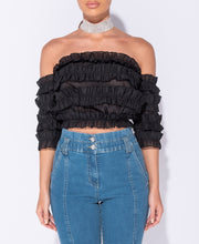 Load image into Gallery viewer, Bardot Frill Detail Crop Top