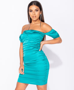 Bardot Ruching Detail Bodycon Mini Dress by uniquely-sophias