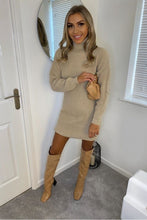 Load image into Gallery viewer, Beige Roll Neck Knitted Mini Dress