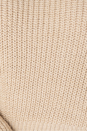 Beige Turtle Neck Rib Knit Jumper