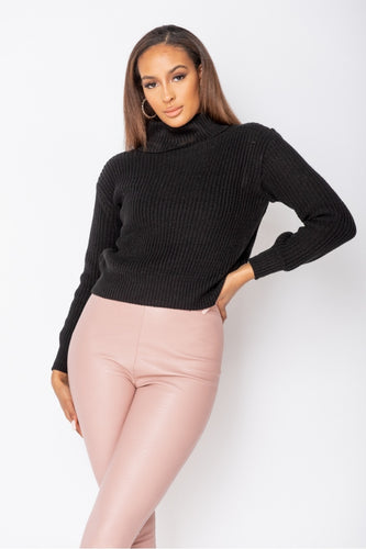 Black Turtle Neck Rib Knit Jumper
