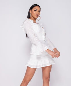 Broderie Anglaise Frill Detail Tie Front Mini Dress