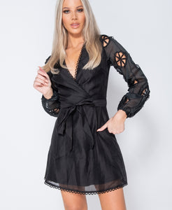Broderie Anglaise Puff Sleeve Wrapover Belted Mini Dress