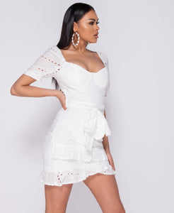 Broderie Anglaise Wrap Over Self Belt Mini Dress