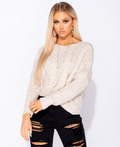 Cable Knit Drop Shoulder Round Neck Jumper by uniquely-sophias