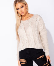 Load image into Gallery viewer, Cable Knit Drop Shoulder Round Neck Jumper by uniquely-sophias