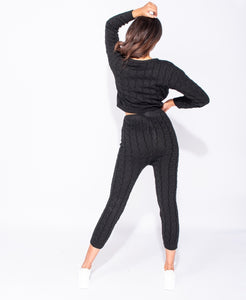 Black Cable Knit Long Sleeve Cropped Top & Legging Lounge Set by uniquely-sophias
