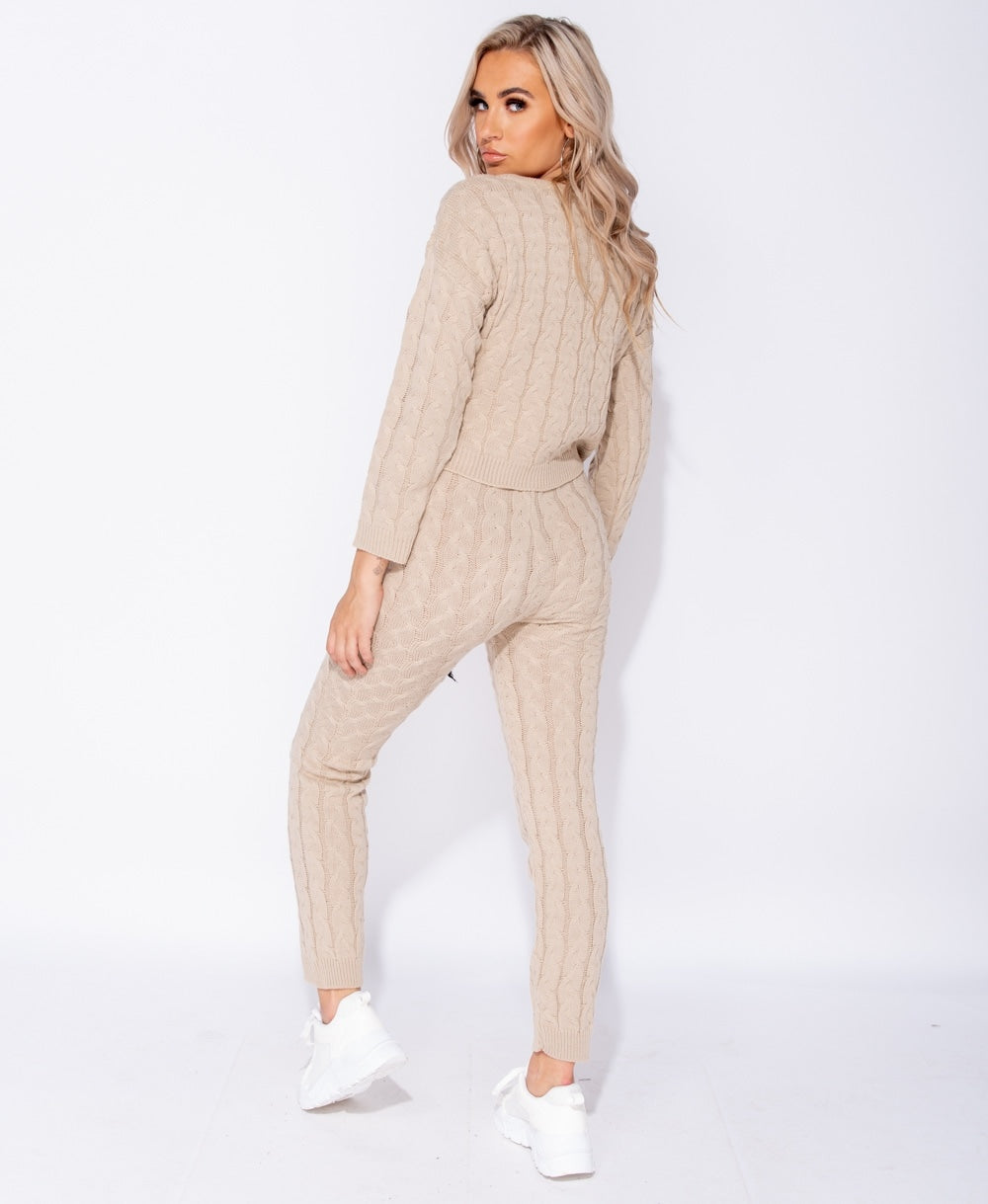 Beige Cable Knit Long Sleeve Cropped Top & Legging Lounge Set by uniquely-sophias