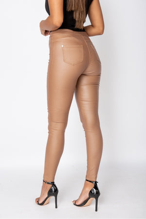 Camel Coated High Waist Jegging